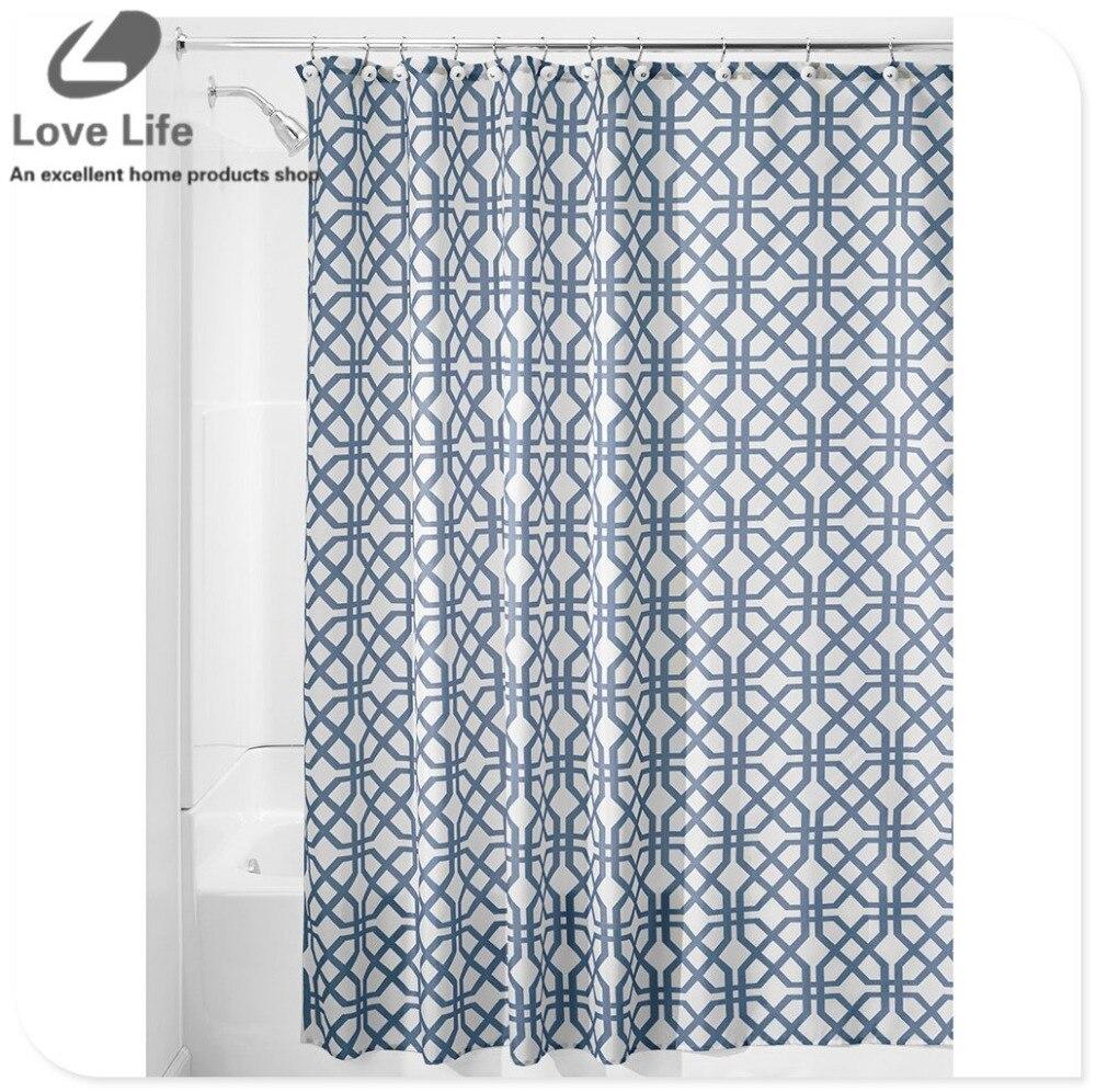 High Quality Modern Elegant Curtain Waterproof Bath Curtain For Bathroom Products Geometric