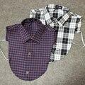 1pc Women Ladies Vertical Small Lapel Blouse Top Shirt Collapsible False Collar Plaid Detachable Shirt Collar 17 Styles