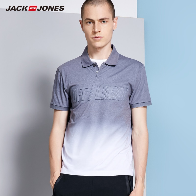 JackJones Men's Cotton 3D Gradient Letters Turn-down Collar Short-sleeved   Polo   Shirt Top wear C|218206501