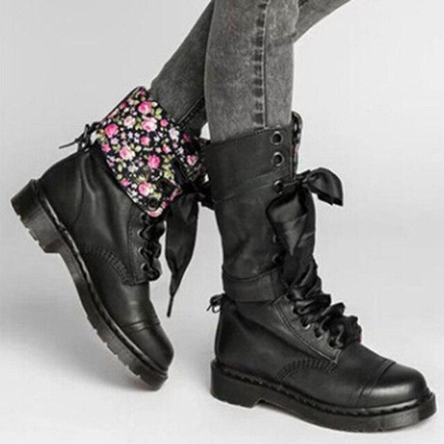 2019 ใหม่ผู้หญิงแฟชั่นรองเท้าฤดูใบไม้ร่วงรองเท้า Lace - up กลางลูกวัวรองเท้าส้นสูง PU รองเท้า Mujer รองเท้า
