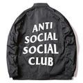 2017 ANTI SOCIAL SOCIAL CLUB Chaquetas Rompevientos Hombres ASSC Logo Hip Hop Temporada Caja de Nylon Jaket Treinador Bombardero Alfa Ceket abrigos
