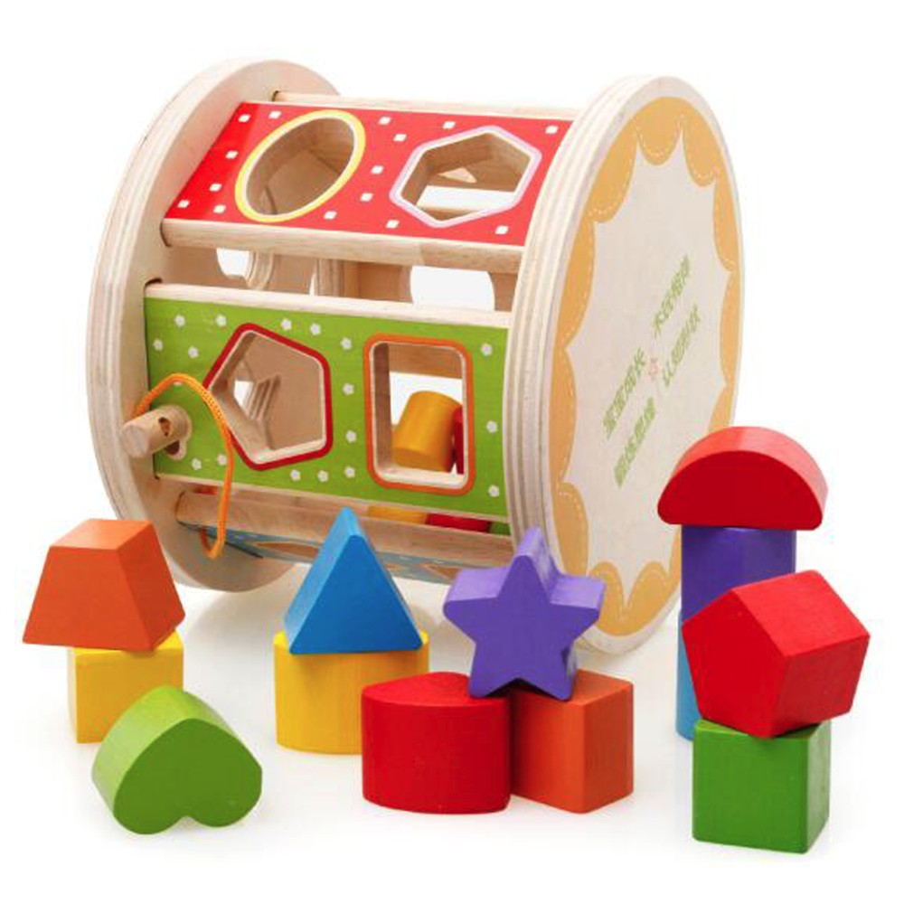 Wooden Rolling Drum Shape Sorter Toys for Kids Color Match Games Children Early Development Toys Puzzles
