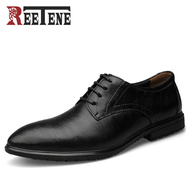 Reetene модные кожаные Для мужчин Оксфорд, Повседневное брендовые Мужские модельные туфли, Деловая Мужская обувь из натуральной кожи, туфли-оксфорды для мужчин