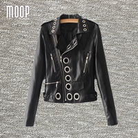 Hollow Eyelets Black Pink Blue Punk Style Leather Motorcycle Jackets Coats Jaqueta De Couro Chaqueta Negra
