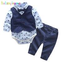 Babzapleume Spring Autumn Baby Boys Clothes Vest Bow Shirt Rompers Pants Fashion Gentleman Suit Newborn Clothing