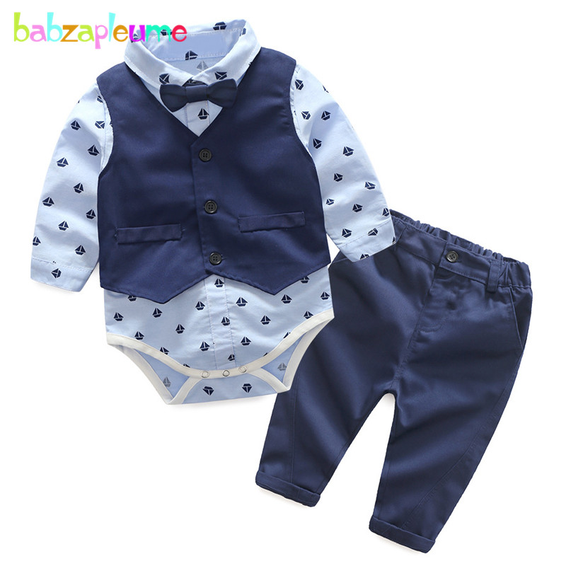 babzapleume Spring Autumn Baby Boys Clothes Vest+Bow Shirt Rompers+Pants Fashion Gentleman Suit Newborn Clothing Set 3PCS BC1419 gentleman baby boy clothes black coat striped rompers clothing set button necktie suit newborn wedding suits cl0008