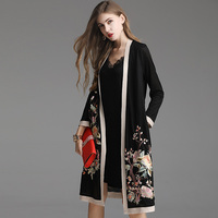 Top Quality New 2020 Spring Summer Fashion Long Cardigans Women Vintage Embroidery Long Sleeve Casual Coat Female Overcoats 5XL