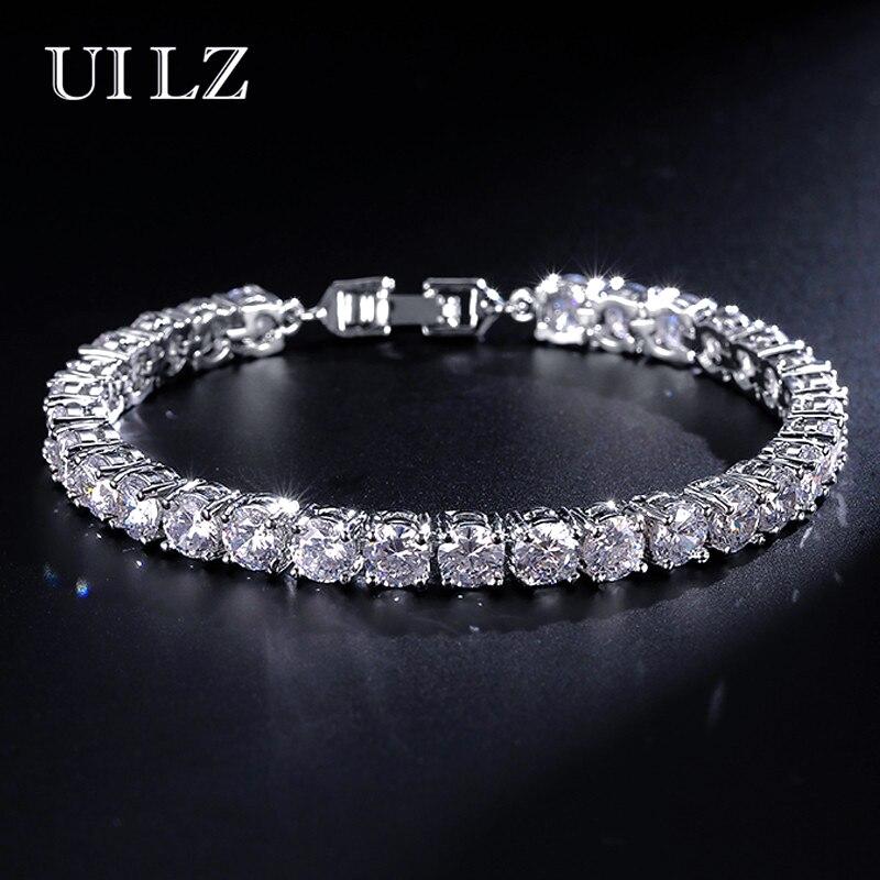 UILZ Mode Rom Braut Schmuck Cut 5,0mm Zirkonia Tennis Armband & Armreifen Dame Schmuck Pulseras Mujer JMBP051