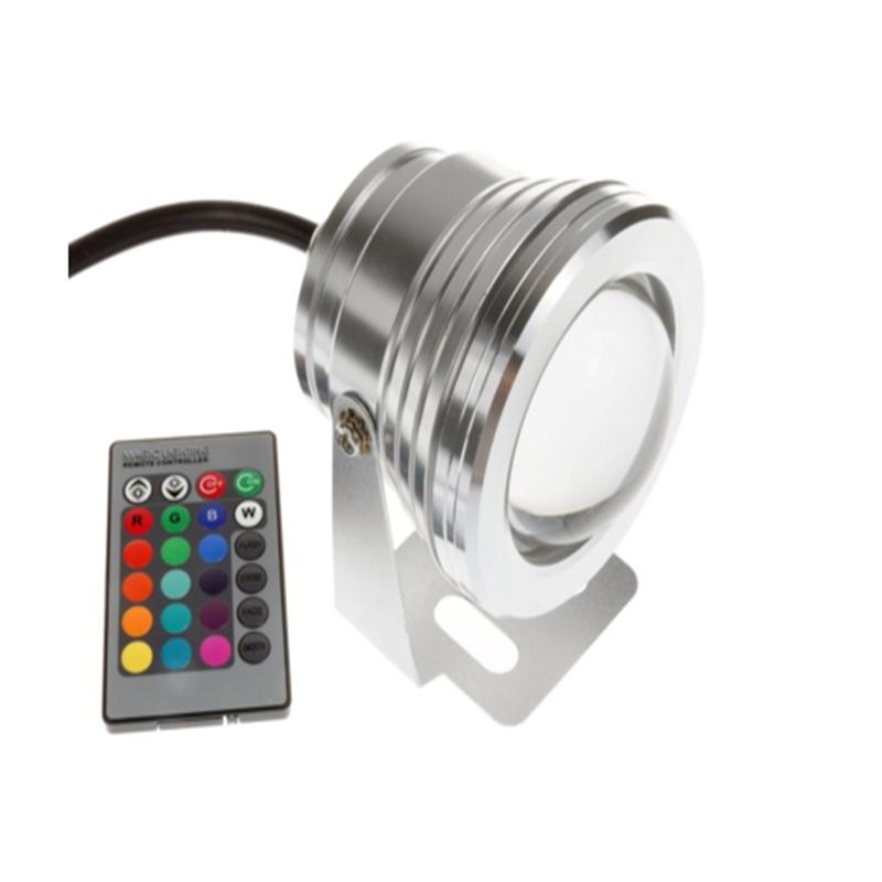 LumiParty 10 Вт новый открытый RGB свет Светодиодный прожектор с дистанционным Управление Водонепроницаемый AC/DC 12 В- 24 В серебро ночник