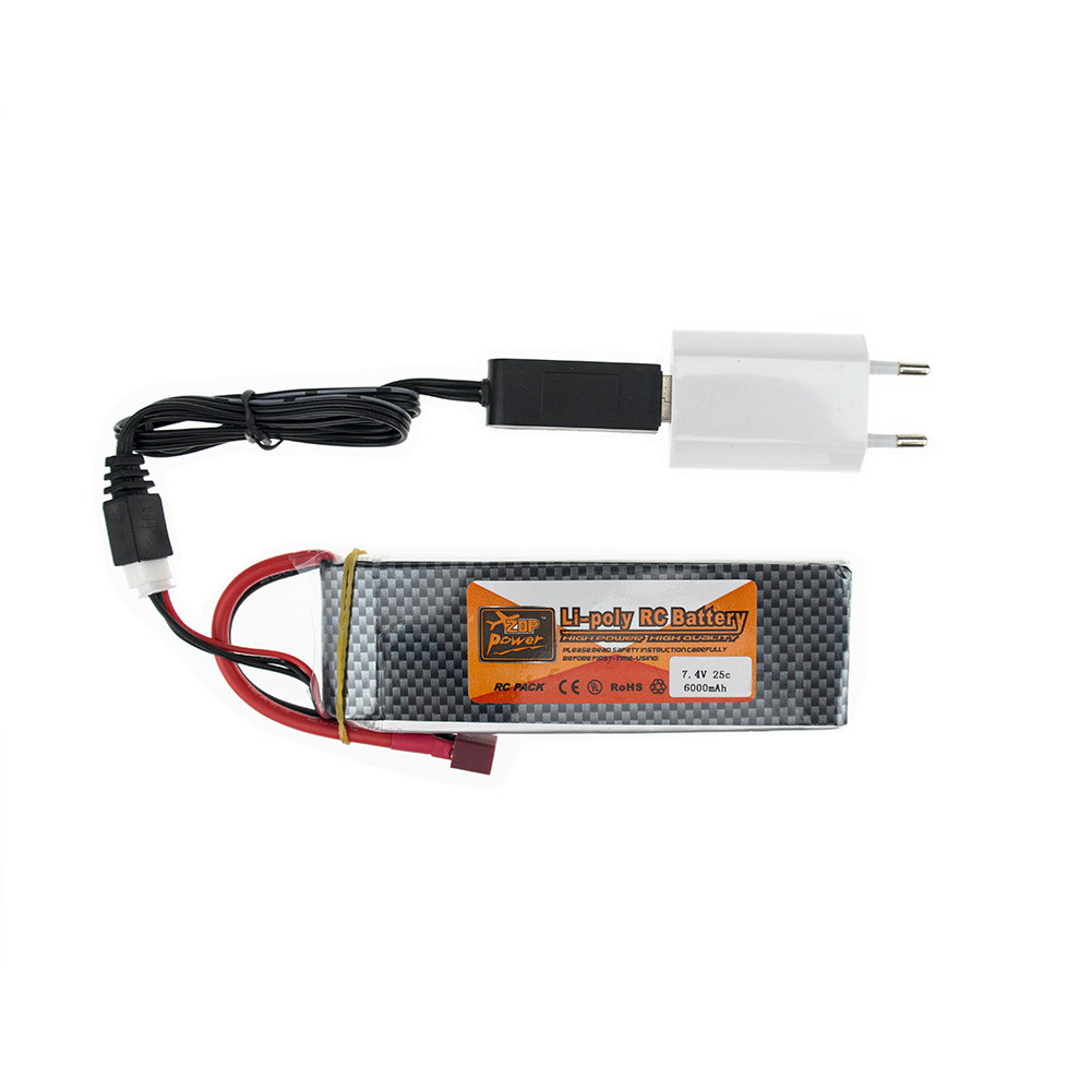 ZOP <font><b>Lipo</b></font> 7.4V <font><b>6000MAH</b></font> 25C <font><b>2s</b></font> T XT60 RC Drone Batteria With USB Charger Plug For Remote Control Models Helicopter Quadcopte image