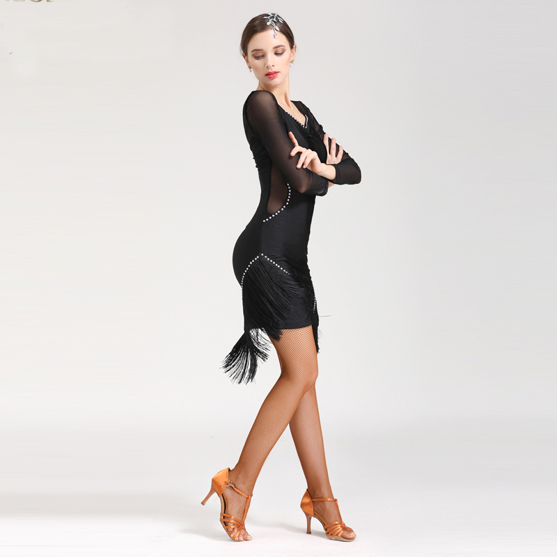 2018 Latin Tassel Salsa Dresses Set Women Dance Skirt Lady Ballroom Dancing Dresses Competition Cha cha/Rumba/Tango Skirt