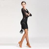 2019 Latin Tassel Salsa Dresses Set Women Dance Skirt Lady Ballroom Dancing Dresses Competition Cha cha/Rumba/Tango Skirt