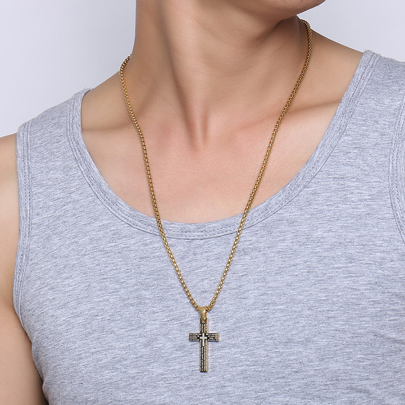 Cross Pendant Engraved with Lord's Prayer Stainless Steel Necklace