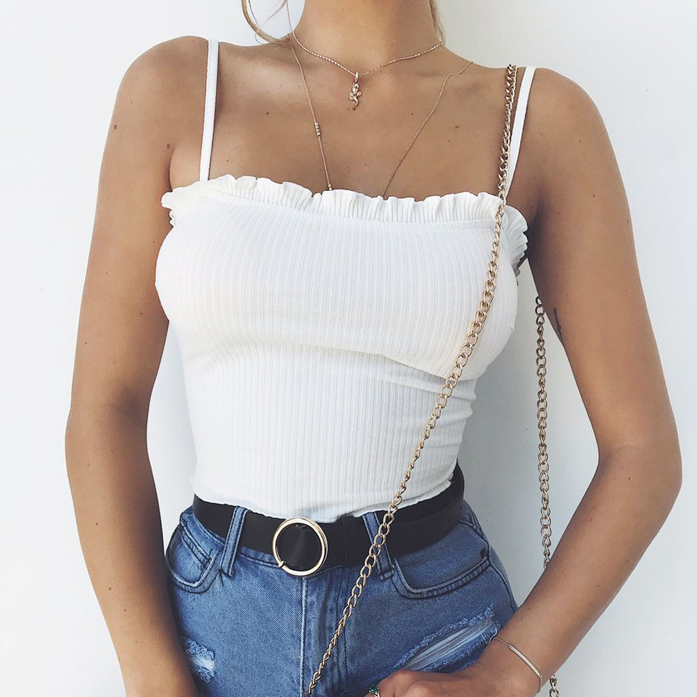 New Fashion <font><b>2018</b></font> <font><b>Sexy</b></font> <font><b>Tops</b></font> For Women Summer Casual Sleeveless Ruffles Off Shoulder Crop Halter Solid Tank <font><b>Tops</b></font> In White image