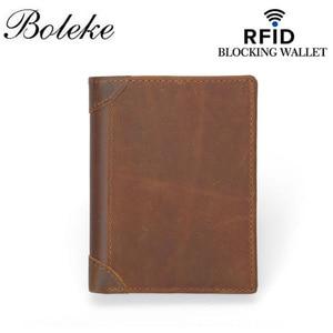 Image 2 - Genuine Cowhide Leather Money Clip Wallet Men RFID Blocking Purse Crazy Horse Leather Short Wallets Trifold Clutch for Man FM101