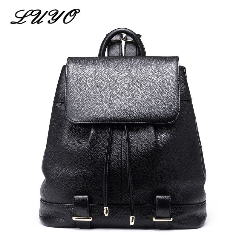 LUYO New Genuine Leather Casual Laptop Women Feminine Travel Backpack Female For Girls Mochila Feminina Plecak Drawstring BagLUYO New Genuine Leather Casual Laptop Women Feminine Travel Backpack Female For Girls Mochila Feminina Plecak Drawstring Bag