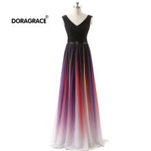 Doragrace robe de soiree V-Neck Sleeveless Lace-Up Gradient Chiffon Long Evening Dresses