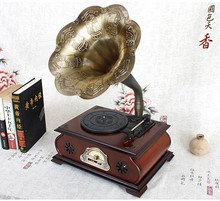 Antiqued pine phonograph LP player bluetooth 4.0 remote control gramophone USB/FM/Subwoofer deluxe decoration furniture 100~240