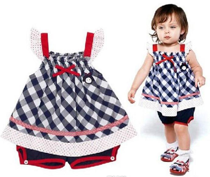 Kids Clothes 2015 Lattice Camisole Cotton Shorts Set Girls