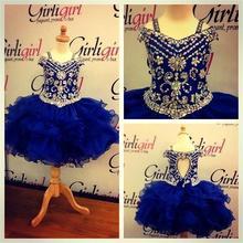 Новое поступление под заказ, короткое синего цвета с украшением в виде кристаллов Бисер для девочек в цветочек платья бальное платье для детей, праздничный наряд для девочки Свадебная вечеринка