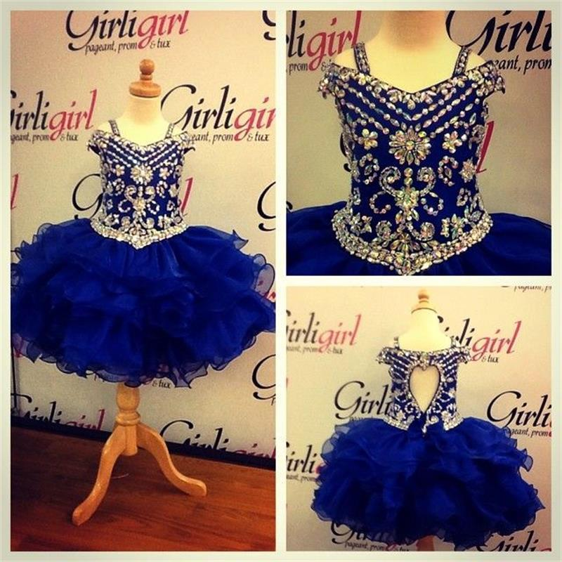 New Arrival Custom Made Short Blue Crystal Beading   Flower     Girl     Dresses   2016 Ball Gown Kids Gown For Wedding Party