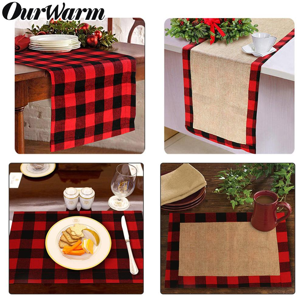 Christmas Buffalo Plaid Burlap Table Runner Table Mats Placemat Christmas Table Decoration Lumberjack Themed Birthday Party Deco