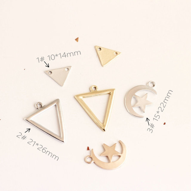 Moda Liga de Ouro Prata Dull Jóias DIY Encantos Coreia Do Estilo Oco Out Estrela Lua Triângulo vento Minimalista Pingente Charme