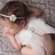 Lovely Baby Newborn Photography Props Infant Girls White Angel Feather Wings Wing Set Costume + Headbands Kids Outfit Photo Prop