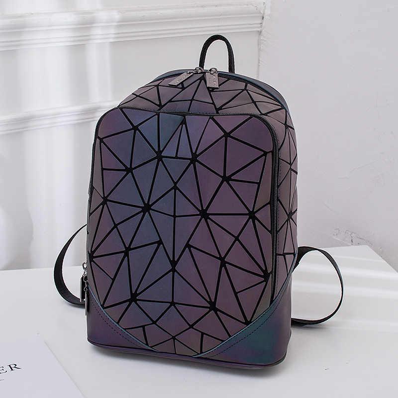Алмазный геометрический люминесцентный светящийся женский рюкзак с блестками геометрический женский школьный рюкзак для девочек-подростков mochila feminina