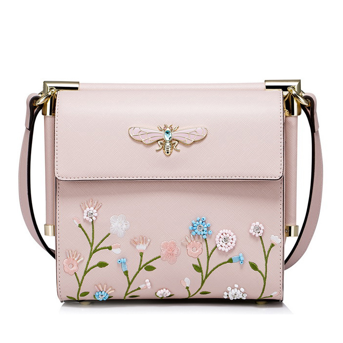 New Brand Design Boho Women S Leather Flowers Embroidery Handbags Fashion Lady Flap Crystal Dragonfly Messenger Crossbody Bags In From