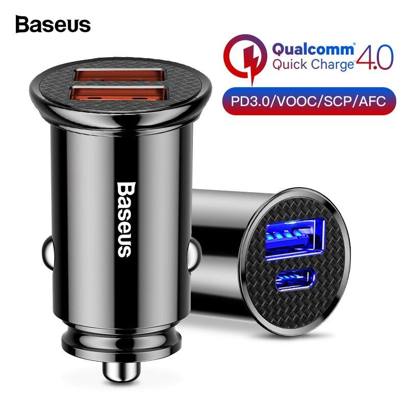 Baseus Quick Charge 4,0 3,0 USB Auto Ladegerät Für iPhone Huawei Aufzurüsten SCP QC4.0 QC3.0 QC Schnelle PD USB C auto Lade Ladegerät