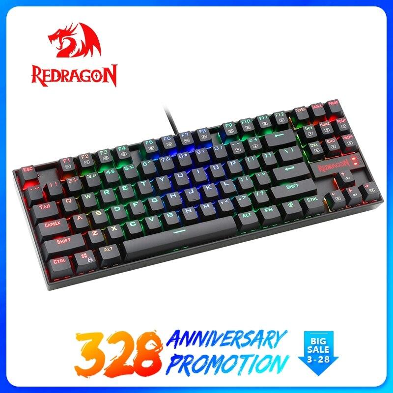 Redragon USB механические эргономичная игровая клавиатура RGB светодиодный подсветкой клавиш полный ключ anti-ореолы 87 клавиш Проводная компьютерн...