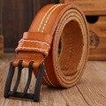 Cowboy de cuero genuino correa de la capa doble para hombre cinturones de lujo 2017 nueva llegada de diseño caliente ceinture correa de los hombres de moda de alta calidad