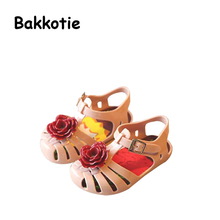 Bakkotie 2017 New Arrival Fashion Summer Kid Brand Baby Girls Leisure Sandal Shoe Flowers Summer Jelly Shoes for Toddlers Brown