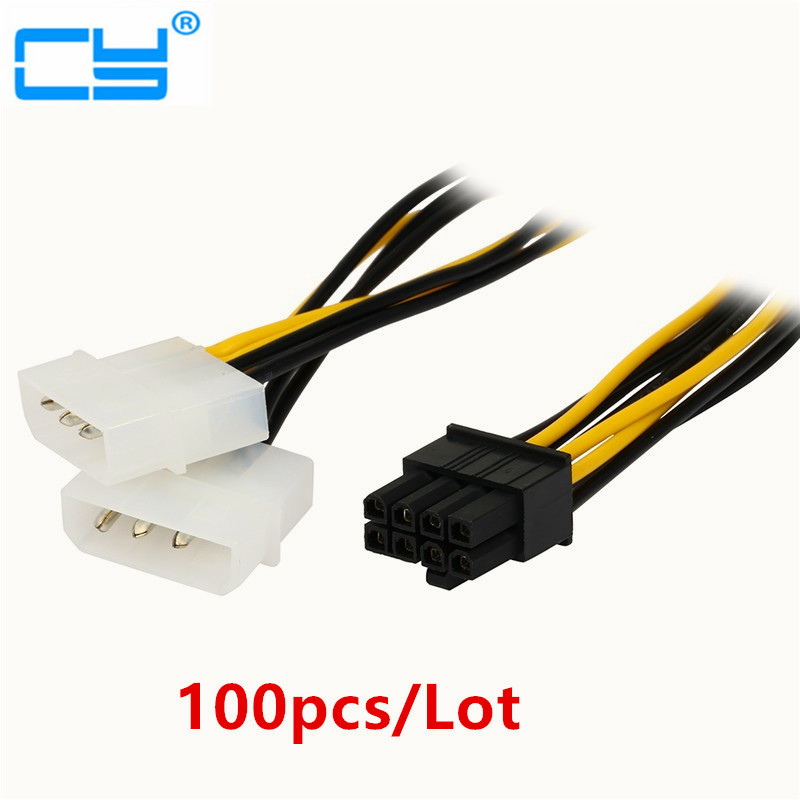 8 Pin PCI Express Male To Dual LP4 4Pin Molex IDE Power Cable Adapter