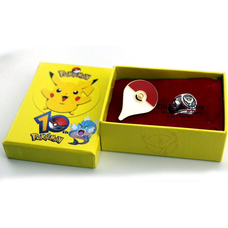2016 Hot Games Pokemon Go Cosplay Costumes Badge + Rings Articuno Moltres Zapdos Figures Jewery Rings for Halloween Party