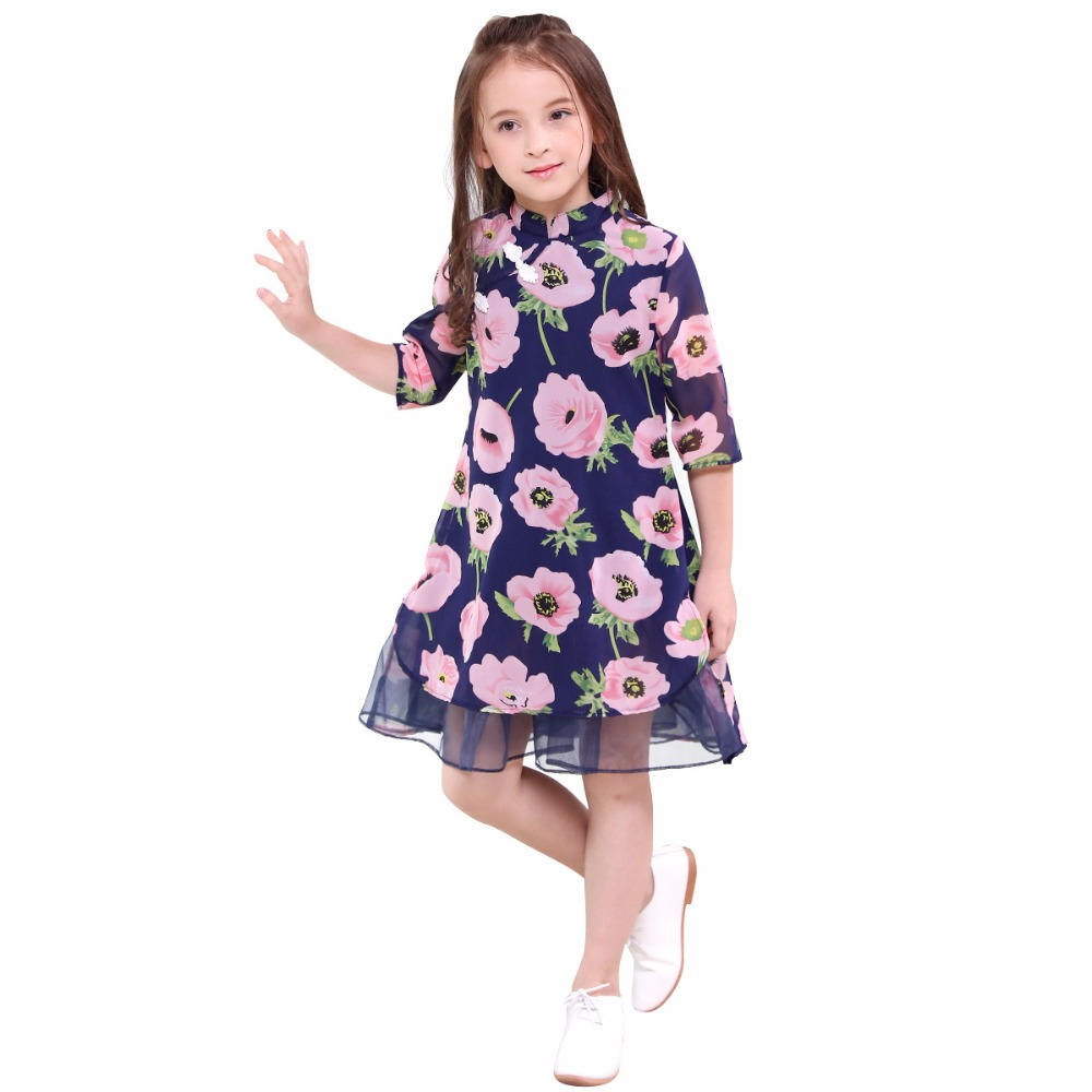 Teenage Summer Dress for Girls Short Sleeve Floral Dress For Todder Girl Cotton Girls Casual Dress Mesh Cool Dresses for 6-16 Y Платье