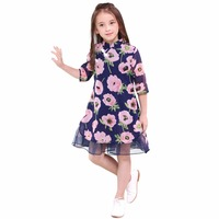Summer Dress Girls 10 12 14 16 8 6 Years Short Sleeve Floral Dress For Todder Girl Cotton Casual Kids Dress A Line Girl Clothing
