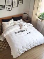 The original ecology four piece washed cotton cats embroidery cartoon bedding sets sleep with the cat zebra animals sleephood
