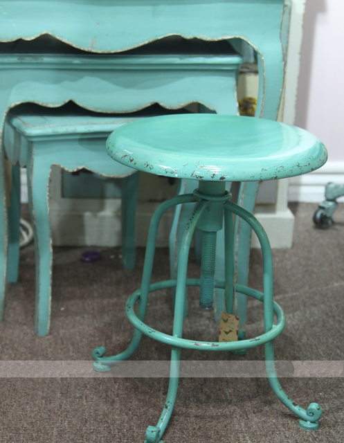 Original Single Wind Retro Metal Chairs Cafe Bar Tiffany Blue Stool To Do The Old