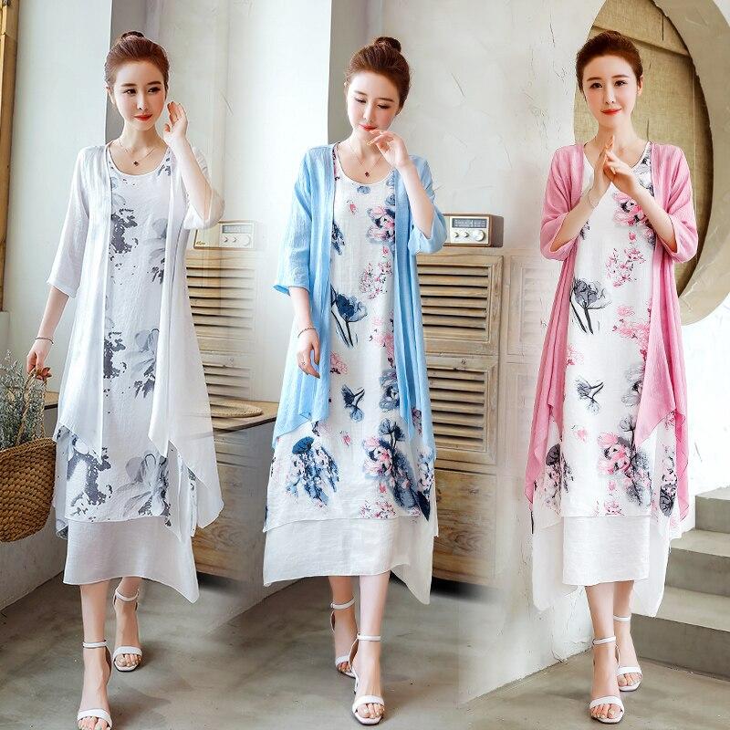 2019 new Spring Summer Women cotton linen dress long shirt New outwear cardigan and flowers dress