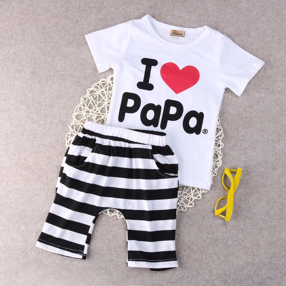 Retail-1set-2015-Children-Clothing-Summer-Set-boys-girls-I-Love-Papa-and-Mama-short-sleeve-t-shirtpants-suit-kids-pajamas-set-2