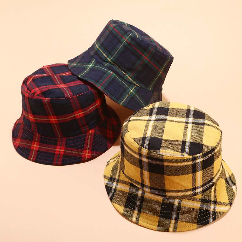 2019 Cotton Double sided Plaid Bucket Hat Fisherman Hat outdoor travel hat Sun Cap Hats for Women 04