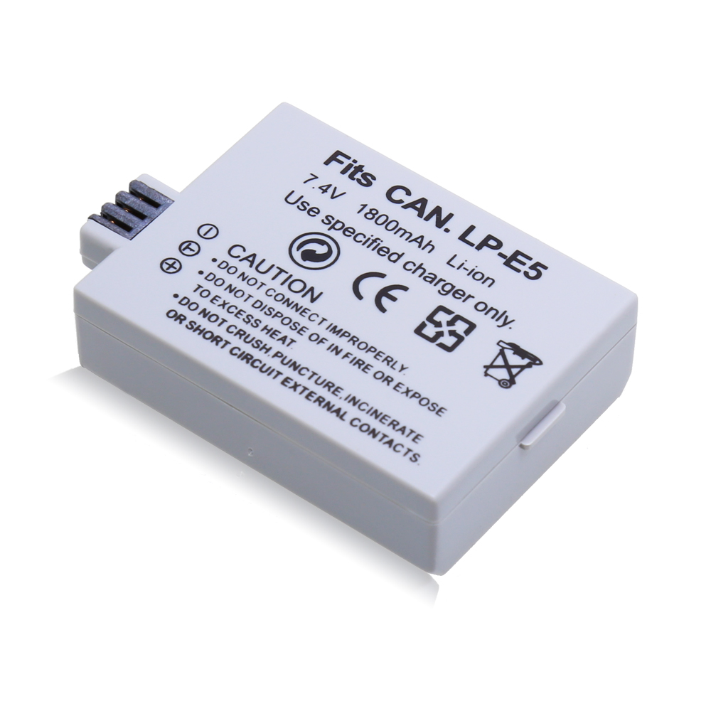 1 Pcs 1800mAh 7.4V LP-E5 LPE5 LP E5 Rechargeable Camera Battery For Canon EOS 450D 500D 1000D KISS X2 X3 F Rebel XS XSi T1i