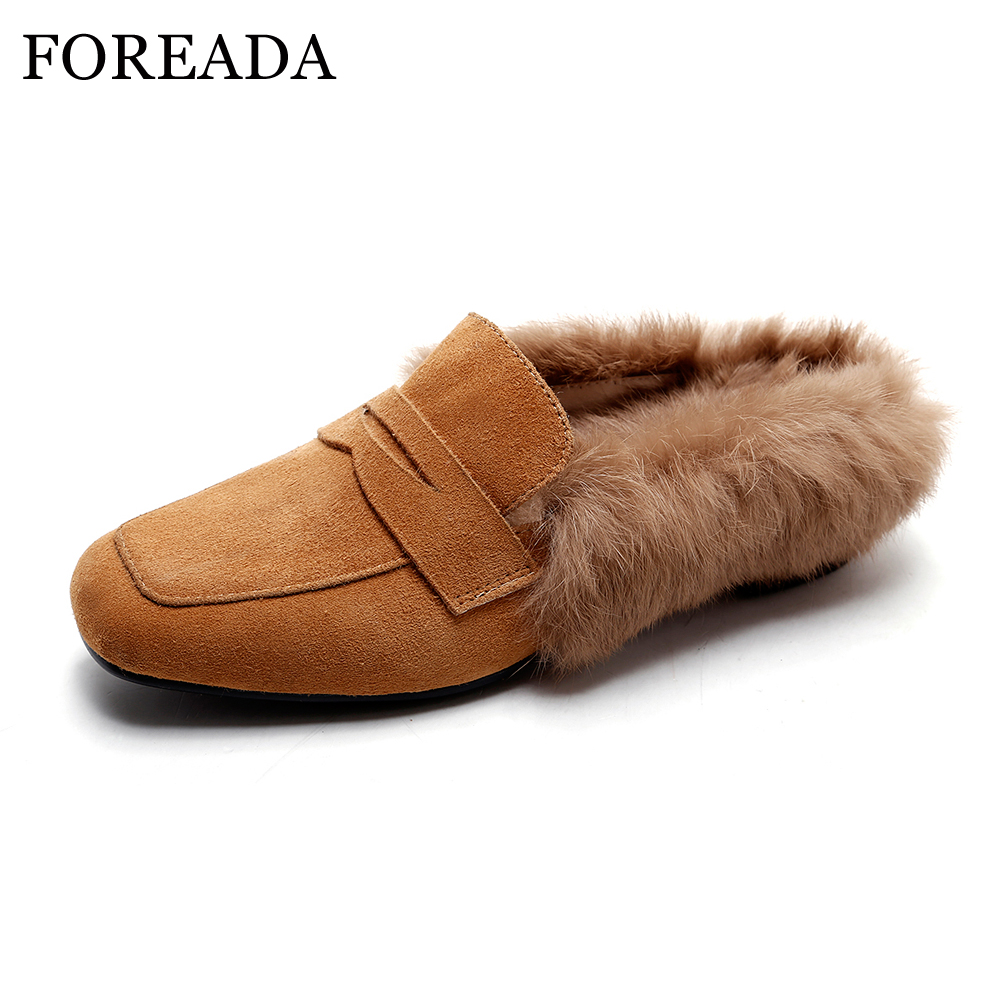 FOREADA Natural Real Leather Mules Shoes Women Rabbit Fur Flats Slippers Winter Shoes Moccasins Loafers Flat Slides Spring 2018 annymoli women flat platform shoes creepers real rabbit fur warm loafers ladies causal flats 2018 spring black gray size 9 42 43
