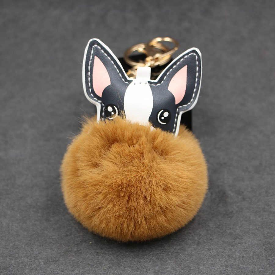 Porta-chaves de couro macio chaveiro de couro de pompom pom pom porte clef chaveiro de couro macio llaveros chaveiros portachiavi