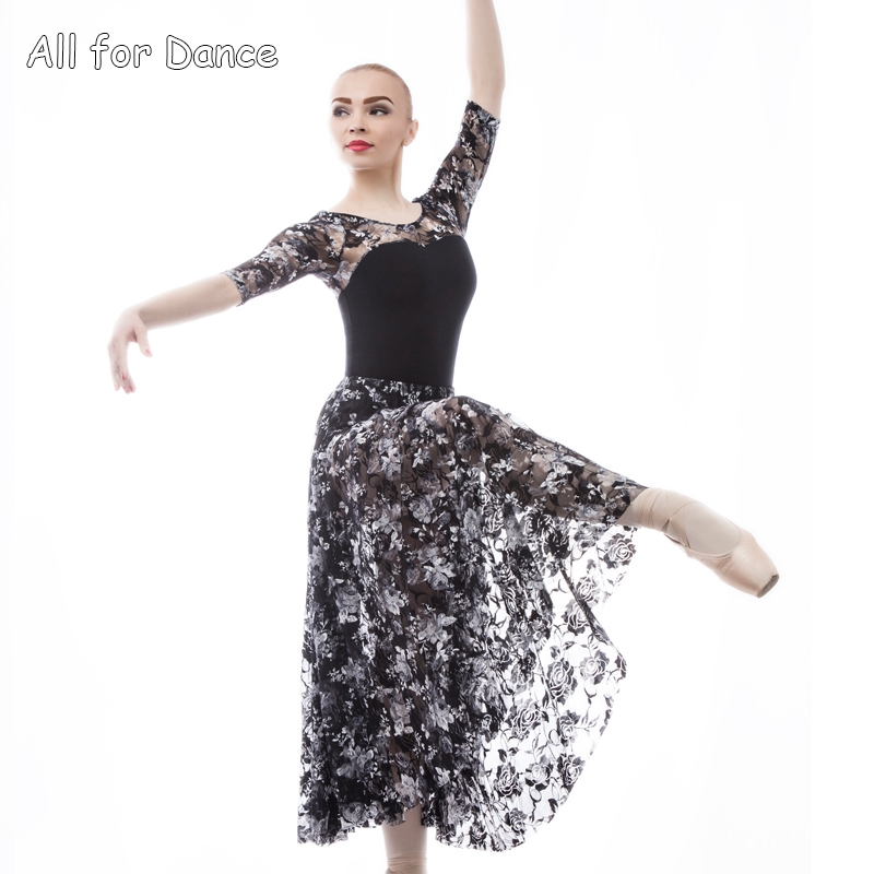 Adult Ballet/Lyrical/Contemporary Dance Long Dress Leotards Mid-length Sleeves Ballet Dance Practice Clothes Gymnastics Wear image