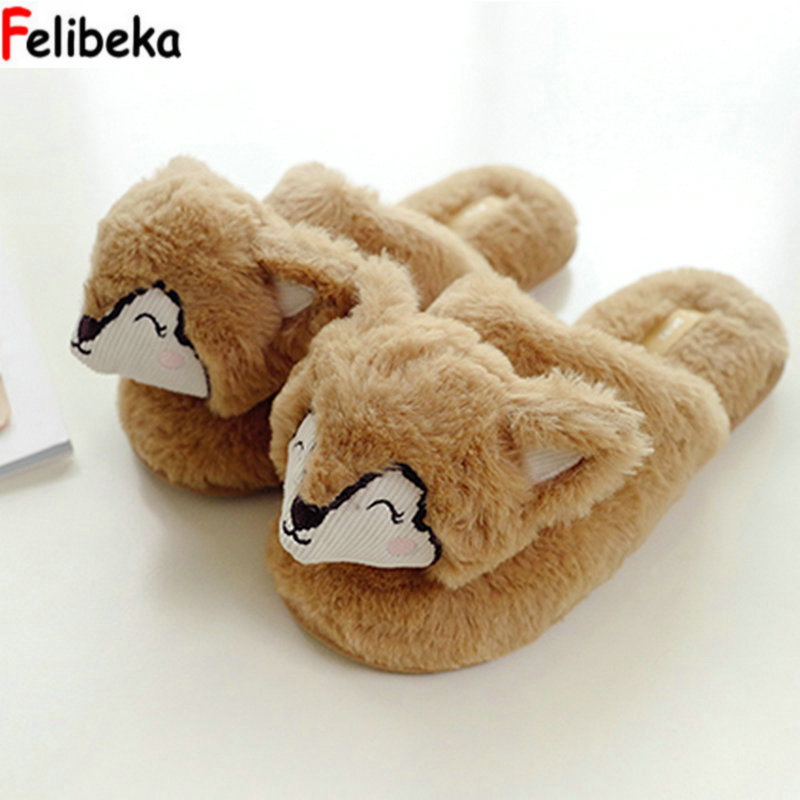 Winter new Cute fox lovers cotton slippers three-dimensional hedgehog plush indoor floor household drag women slippers shoes