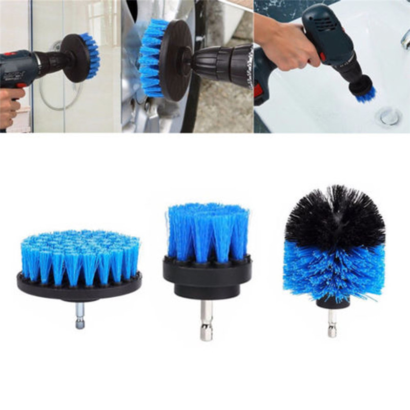 3Pcs Drill Power Scrub Clean Brush For Cleaning Carpet Sofa Wooden Furniture Grout Power Scrubber Cleaning Brush Tub Cleaner