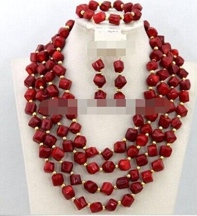 Vente chaude> charme Jew.656 Africaine Mariage De Perles De Corail Collier Bijoux Ensemble (A0425)-Mariée bijoux livraison gratuite
